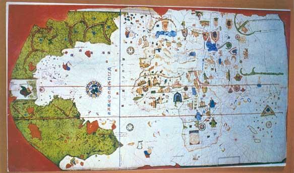 Carta de navegación, Juan de la Cosa, 1500. Biblioteca Luis Ángel Arango. Reproducción facsimilar, el original reposa en el Instituto Geográfico del Ejército, Madrid (España).