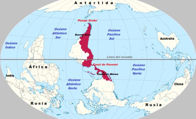 Representación invertida del mapa del mundo, con el continente Americano en el centro. El territorio que aparece en color morado corresponde a Hispanoamérica. - See more at: http://ucvsatelital.tv/geopolitica-de-hispanoemerica-nuestro-norte-es-el-sur-el-nuevo-post-del-jurista-y-escritor-espanol-jose-ramon-bravo#sthash.E0X5Dlx7.dpuf