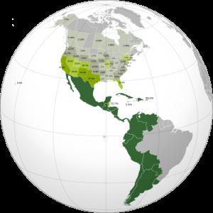 Hispanoamérica y porcentajes de hispanohablantes en los estados del continente americano en que el idioma oficial no es el español.