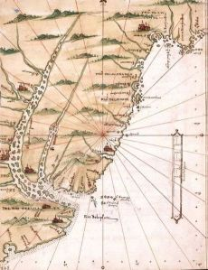 Mapa de Alonso de Santa Cruz (siglo XVI) en el que puede apreciarse la Banda Oriental del Río de la Plata.