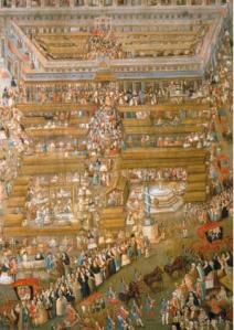 La Plaza Mayor de México en el siglo XVIII, momento de mayor esplendor cultural de Nueva España. Óleo de Antonio Prado (hacia 1769). Museo Nacional de Historia (Ciudad de México).