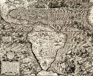 Mapa de América, de mediados del siglo XVI, donde pueden observarse las Indias.