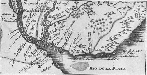Mapa donde puede verse la bahía de Maldonado y la desembocadura del río de la Plata (Fragmento de Carta de la Provincia del Paraguay, por Mateo Leutero (1722).