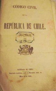 Primera página de la primera edición del Código Civil de Chile. Santiago de Chile: Imprenta Nacional, calle de Morandé, núm. 36. Mayo 31 de 1856.