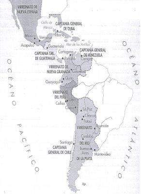 Virreinatos y capitanías generales de las Indias (Hispanoamérica) en el siglo XVIII.