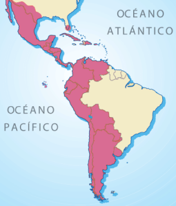 Mapa que muestra las zonas de América donde se habla habitualmente español.