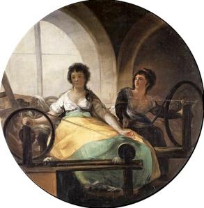 Alegoría de la industria (1804-1806), por Francisco de Goya. La industria textil fue muy importante para el auge económico y extenso desarrollo industrial de la América Hispana.