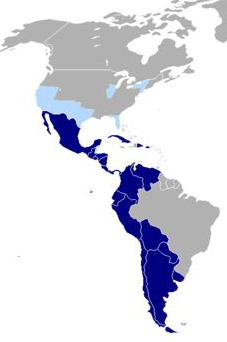 Territorios de América donde se habla español, como lengua mayoritaria (azul oscuro) o minoritaria ( azul claro).