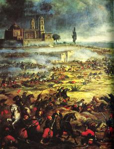 Batalla de Puebla, según un óleo anónimo. En los años en que se celebraba el Congreso de Lima, México luchaba por su libertad contra el invasor francés.