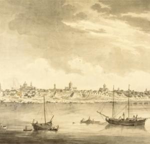 Vista del puerto de Buenos Aires, desde el río, en un grabado de Malaspina (siglo XVIII). Inglaterra, Holanda y otras potencias europeas realizaron un intenso contrabando en el Río de la Plata, que acabó perjudicando el desarrollo de su industria.