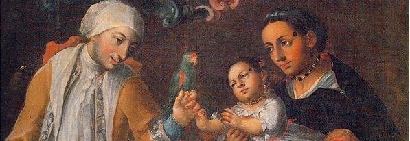 Representación del mestizaje en un óleo del pintor poblano José Joaquín Magón, de finales del siglo XVIII (detalle).