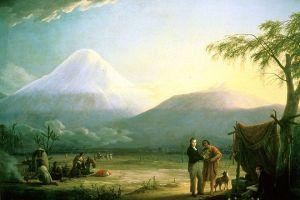 Alexander von Humboldt y Aimé Bonpland al pie del volcán del Chimborazo, cuadro de Friedrich Georg Weitsch (1810).