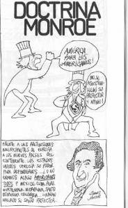 """Caricaturización de la doctrina Monroe en el libro de viñetas """"Vera Historia del Tío Sam"""", de Rius (Eduardo del Río García)."""
