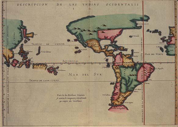 Descripción de la Indias Occidentales, mapa de Antonio de Herrera y Tordesillas (principios del siglo XVII), muestra las posesiones españolas en el Nuevo Mundo.