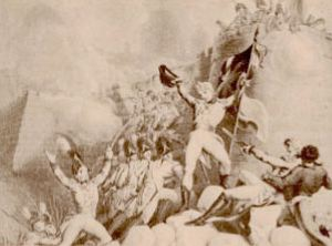 """Detalle de la obra """"Asalto de los Ingleses a la brecha de la Ciudadela"""" del artista E. F. Burney. Toma de la Ciudad de Montevideo el 3 de febrero de 1807, durante las Invasiones Inglesas"""