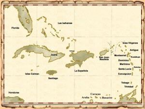 Mapa que describe las principales islas del Caribe en los siglos de la piratería.