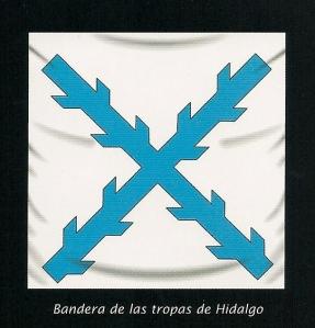 Bandera capturada a los insurgentes en Acatita de Baján y que se conserva en el Museo del Ejército de Madrid. El color azul de la cruz de Borgoña fué elegido por los rebeldes para diferenciarla del rojo de las banderas realistas.
