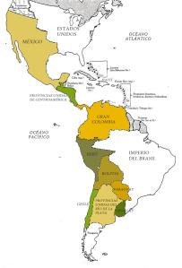 En color, los Estados en que estaba dividida Hispanoamérica hacia 1830, tras las guerras separatistas. Lucas Alamán quiso impulsar la re-integración hispanoamericana bajo la égida de México, que era el más extenso y poblado Estado hispano [Pulse en la imagen para ampliar]