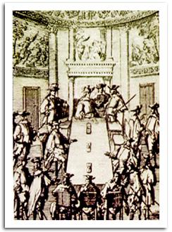 El Consejo de Indias (representado aquí en un grabado del s. XVII) fue el más importante órgano de la administración indiana. Formado en 1511 como sección dentro del Consejo de Castilla, logró conformarse como entidad propia en 1524.