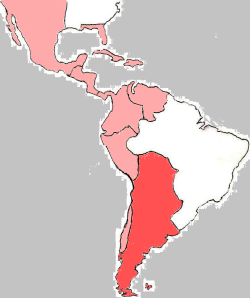 Hispanoamérica a finales del siglo XVIII. En color más intenso, se destaca el Virreinato del Río de la Plata.