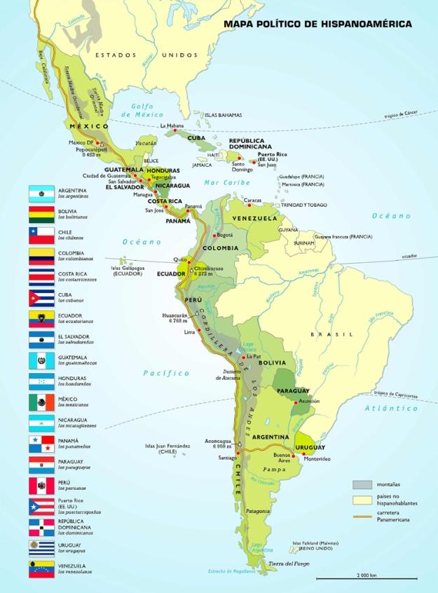 Mapa político actual de Hispanoamérica: tras más de 300 años de unidad, la fragmentación en 18 repúblicas, unas fronteras que responden a los intereses anglosajones [Pulse en la imagen para ampliar]
