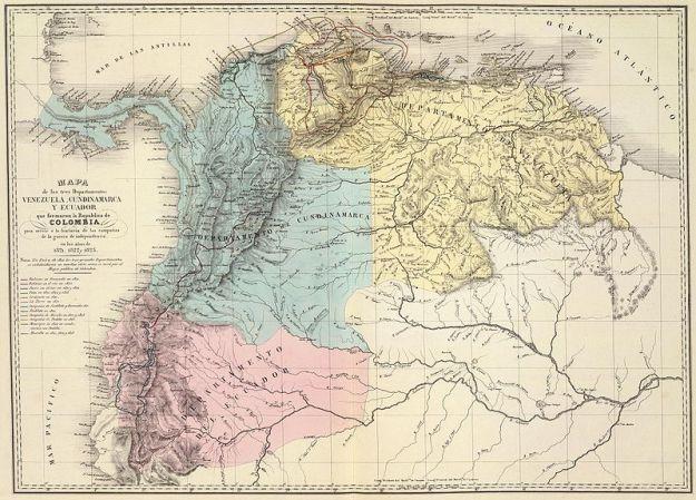 Panamá como parte de Colombia, en un mapa de 1821